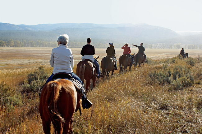 horseback riding at Paws Up