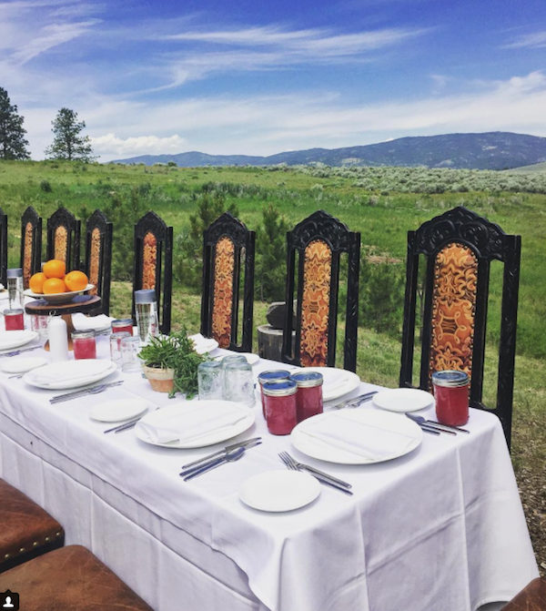 long table at the resort at paws up