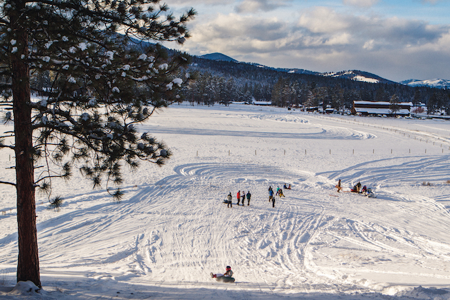 winter adventure at the resort at paws up